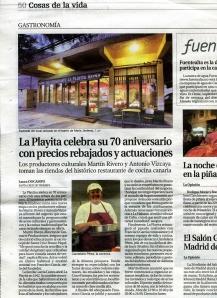 Imagen de la publicación en edición impresa del periódico La Opinión de Tenerife.
