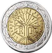 Moneda de 2 euros diseñada en 1999 en Francia por Joaquim Jimenez.