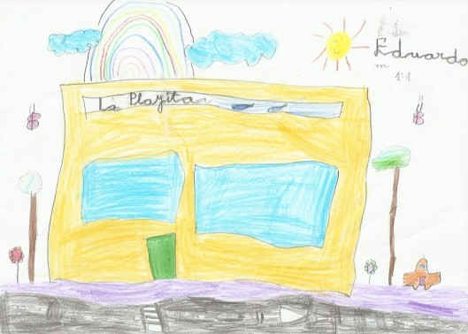 Dibujo de la fachada de La Playita de Eduardo Herrera Jarque, de seis años.