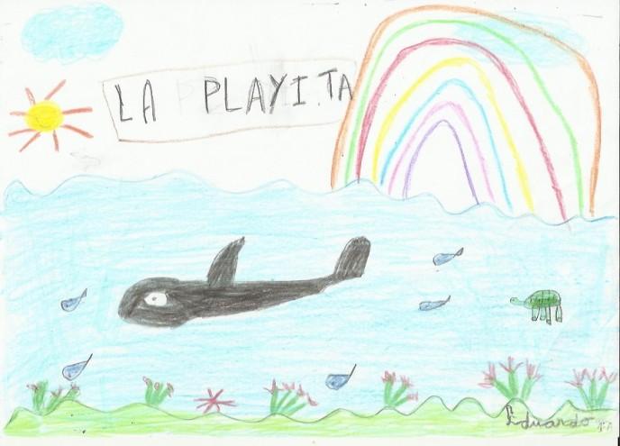 Dibujo de una bonita orca de Eduardo Herrera Jarque, de seis años.